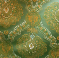 """JADE GREEN GOLD FRENCH EMBROIDERED DAMASK Upholstery Fabric 54"""" By The Yard"""