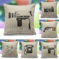 Vintage Retro Home Decor Sofa Throw Cotton Linen Pillow Case Cushion Cover 17''