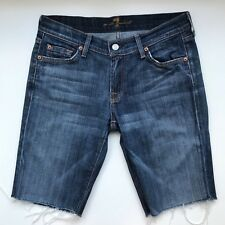 7 For All Mankind Womens Cotton Blend Cut Off Denim Shorts, Size 29