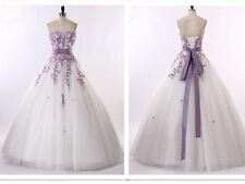White and purple Wedding Dresses Bridal Gowns Size 6-8-10-12-14-16-18-20
