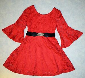 Girls size 7 Amy Byer Red Floral Lace Holiday Christmas Dress 3/4 Bell Sleeves