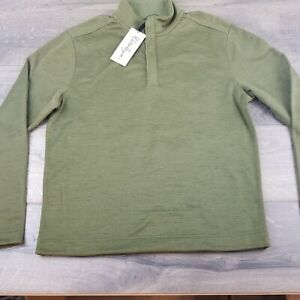 Walter Hager Mens Heather Strip Quarter Zip Dark Olive Pullover Size Small NWT