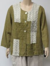 SARAH SANTOS, SIZE XXL LIGHT GREEN LINEN JACKET WITH ADORNMENTS,MADE IN ITALY.