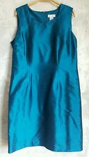 NWT Worthington Peacock Blue Dupioni Silk Sheath Dress SZ 14 Sweetheart Neck $60