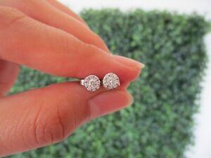 .60 Carat Face Illusion Diamond White Gold Earrings 18k sep (MTO)