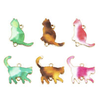 Pack Of 10 Cat Enamel Alloy Charms Pendants DIY Necklace Jewelry Making Finding