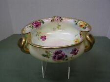 Rare Darcy's German Bowl with 3 handle hand painted Roses and gold Trim J &C