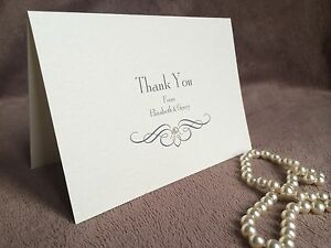 Personalised Handmade Wedding Thank You Cards. Pearl
