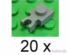 LEGO - 20 x Platte 1x1 mit U - Clip waagerecht dunkelgrau / 4085c NEUWARE