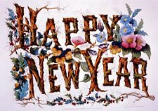 Antique Happy New Year wall art print poster circa 1876