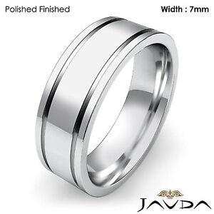 Flat Fit Plain Ring Men's Wedding Solid Band 7mm 18k White Gold 12.5g 12-12.75