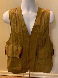 Vintage Redhead 50s 60s Blue Bill Brown Canvas Hunting Vest Multi Pocket Medium