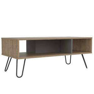 Two Tone Coffee Table Natural Oak Finish Grey Solid Wood Open Storage Shelf