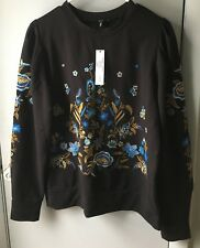 DREW Anthropologie Women Black  Floral Embroidered Top Small New