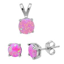 Round Pink Fire Opal .925 Sterling Silver Earring & Pendant Set