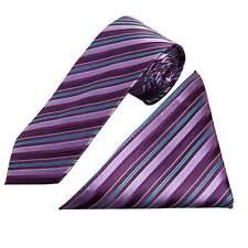 Fatto a mano viola a più righe SETA Cravatta E Fazzoletto Set regolari Cravatta e Hanky