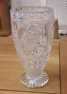 Vintage Lead Crystal Cut Glass Heavy Large Footed Vase Star Pattern 24.5 cm