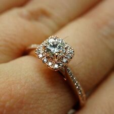 1.4/6 Ct Solitaire Square Halo Diamond Women's Engagement Ring Rose Gold Finish