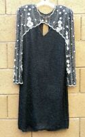 Laurence Kazar Black Silk Beaded Sequin Dress M White Floral L/S