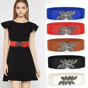 Women's Fashion Wild Waistband Elastic Stretch Dress Waist Belt Wide Buckle Band