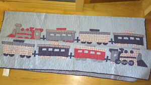 Pottery Barn Kids Trains Quilt Twin Cotton Comforter Bedspread Blue Red White