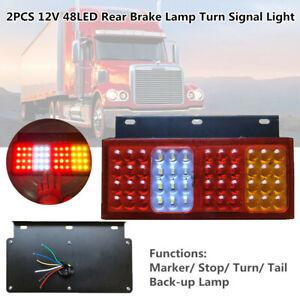 12V 48LED Car Truck Rear Brake Lamps Stud Mount Stop Turn Signal Light Stop/Tail