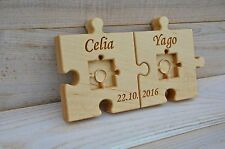 Personalized Wood Wedding Ring Bearer Pillow, Rustic Wedding Ring Holder Puzzle