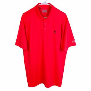 Under Armour Polo Shirt Large Neon Pink Orange Heat Gear Loose Short Sleeve