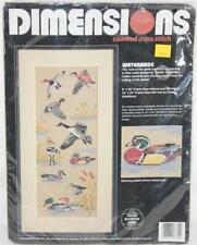 """Dimensions Waterbirds Counted Cross Stitch Kit No 3732 Sealed! 12""""x24"""" Framed"""