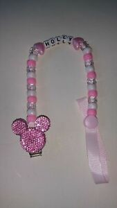 BABY BLING MICKEY MINNIE MOUSE PERSONALISED DUMMY HOLDER SAVER CLIP MANY COLOURS