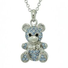 "Teddy Bear W Swarovski Crystal Animal Blue Pendant Necklace Jewelry 18"" Chain"