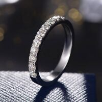 1Ct Moissanite Wedding Band 14K White Gold Over Half Eternity for Women and Men