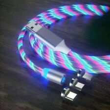 3 in 1 LED Glowing Flowing Magnetic Phone Charger Type C IOS Micro USB Rainbow
