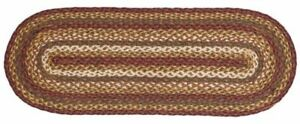 """Tea Cabin Rustic Country Braided Jute Table Runner 13"""" x 48"""" Green Cream & Red"""