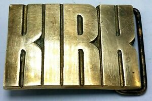 """Vtg Baron Belt Buckle BBB KIRK Cut Out Solid Brass Buckle 2 1/2"""" x 2"""""""