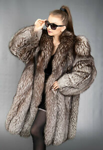 9628 GORGEOUS REAL SILVER SAGA FOX COAT LUXURY FUR JACKET BEAUTIFUL LOOK SIZE XL
