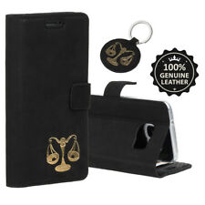 SURAZO Echtes Ledertasche Hülle Handy Case Cover Etui Schwarz - Gold Waage