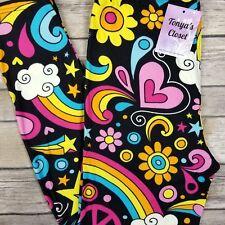 a72174655ce6e EXTRA PLUS Rainbow Paradise Leggings Heart Star Floral Peace Buttery Soft  16-24