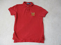 VINTAGE Ralph Lauren Polo Shirt Adult Medium Red Gold Flags Crest Mens 90s *