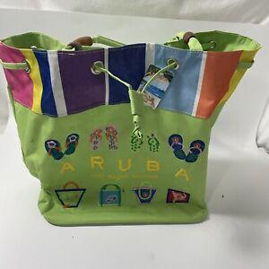 ARUBA One Happy Island tote satchel bag Green Embroidered cinch closure Straps