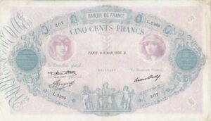 500 FRANCS BLEU ET ROSE DU 6-8-1936