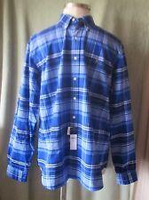"Men's Ralph Lauren Royal Blue White Plaid LS Classic Shirt NWT $89.50 XL 36"" SL"