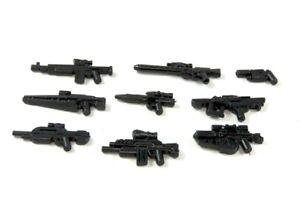 9 Custom Waffen MG Gewehr Pistole schwarz für LEGO® Figur SWAT Polizist Soldat