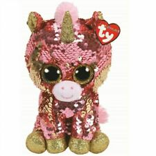 Ty 24cm Flippables Sunset Coral The Unicorn Sequin Beanie Boos Limited Edition