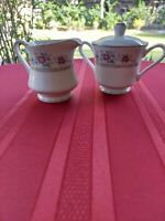 IMOCO STRATFORD 1188 FINE CHINA CREAMER AND SUGAR BOWL WITH LID MADE IN JAPAN.