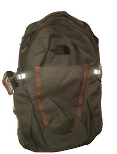 The North Face Olive Green Brown Leather Pivoter Special Edition Backpack (29L)