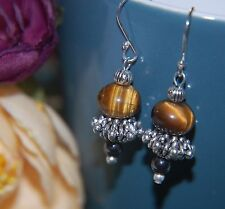 Pretty Golden Tiger's Eye & Hematite Gemstone STERLING SILVER Earrings