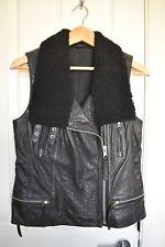 Allsaints leather shearling biker sans manches échantillon objet (Taille UK10)