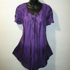Top Fits XL 1X 2X 3X Plus Tunic Purple Tie Dye Lace Sleeves A Shaped NWT G7782