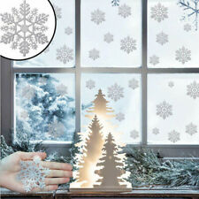 80PCS Christmas Window Snowflake Clings Stickers Decal Home Xmas Decorations UK